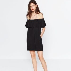 Zara Black Off-the-Shoulder Dress